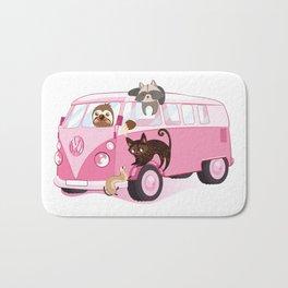 Happy pink bus Bath Mat
