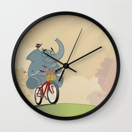 Mr. Elephant & Mr. Mouse 'Bicycle' Wall Clock