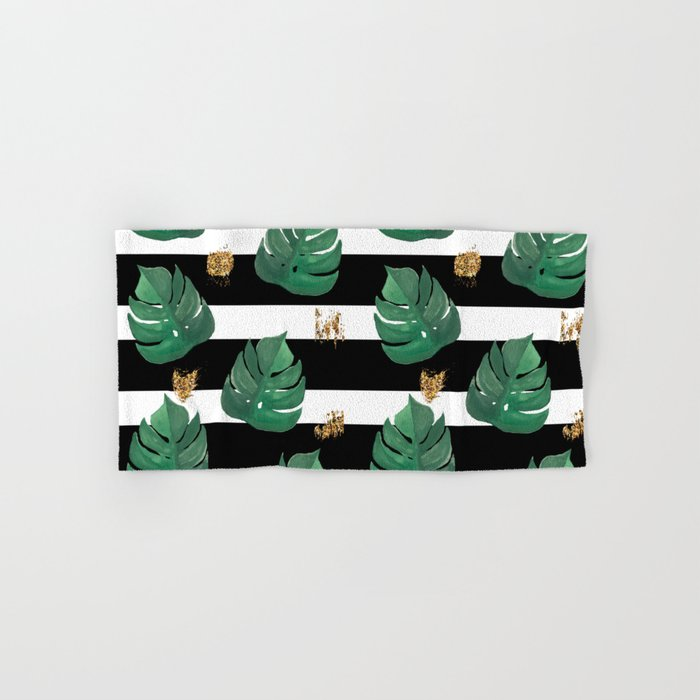 Tropical leaves pattern on stripes background Hand & Bath Towel