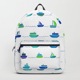 Blue Green Watercolor Boats Pattern Backpack