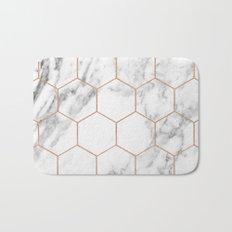 Rose gold marble hexagons honeycomb pattern Bath Mat