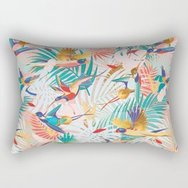 Colorful, Vibrant Paradise Birds and Leaves Rectangular Pillow