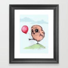 Baby Owl Balloon Framed Art Print