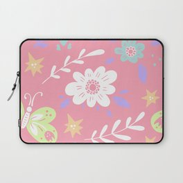 Pink Pattern with Flowers and butterflies Laptop Sleeve