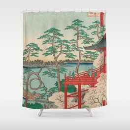 Spring Blossoms and Pond Ukiyo-e Japanese Art Shower Curtain