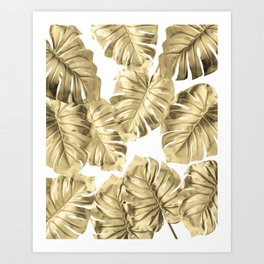 Gold Monstera Leaves on White 2 Art Print