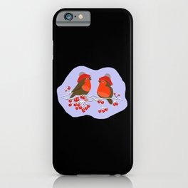 Cute Birds In Winter iPhone Case