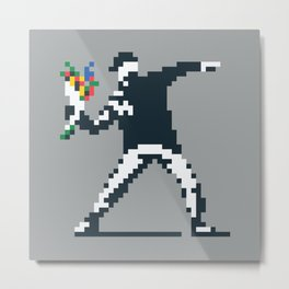 Flower Thrower Graffiti Pixel Metal Print