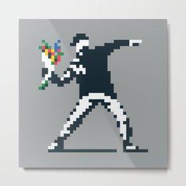 Flower Thrower Graffiti Pixel Metal Print