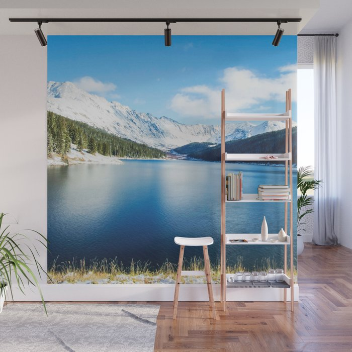 Clinton Gulch // Day Light Mountain Lake Forest Snow Peak Landscape Photography Hiking Decor Wall Mural