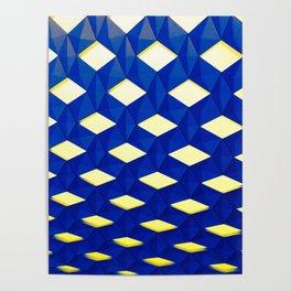 Trapez 2/5 Blue & Yellow by Brian Vegas Poster