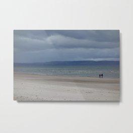 Figures on The Beach at Nairn, Scotland Metal Print