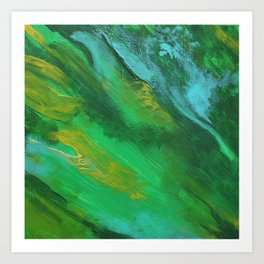 Square Green Abstract Acrylic Painting Art Print