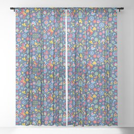 Swedish Folk Art Garden Sheer Curtain