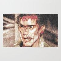 evil dead Area & Throw Rugs featuring Ash from Evil Dead II (2) by Aaron Bir by Aaron Bir