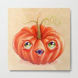 Wacky Pumpkin Metal Print