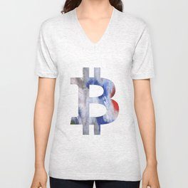 Bitcoin Bright multicolored nebulous watercolor Unisex V-Neck