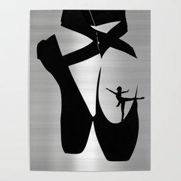 Ballet Dancer & Shoes Silhouette Poster