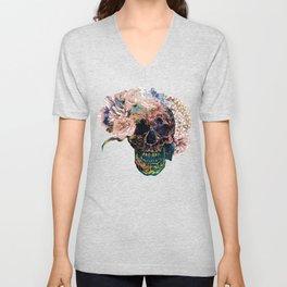 Skull Flowers - MidnightBlue Unisex V-Neck