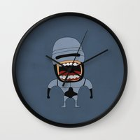 robocop Wall Clocks featuring Screaming Robocop by That Design Bastard