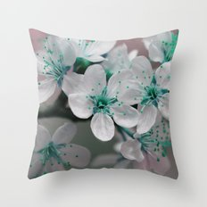 Pretty Spring Blossom Teal Blue Green Throw Pillow