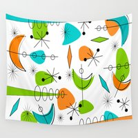 mid century Wall Tapestries featuring Mid-Century Modern Space Age by Kippygirl