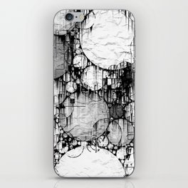 Glitch Black & White Circle abstract iPhone Skin