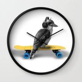 Kookaburra, Cool bird with headphones, Australian bird, Skateboard, headphones, Aussie Animal Wall Clock