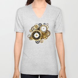 Two Steampunk Clocks with Gears Unisex V-Neck