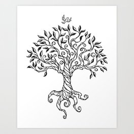 Shirley's Tree BW Art Print