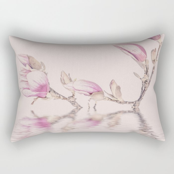 Soft Pink Magnolia Flowers And Water Reflection Rectangular Pillow