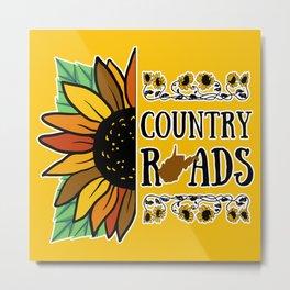 West Virginia Country Roads Sunflower WV State Map Flowers Summer Print Metal Print