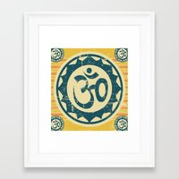 om Framed Art Prints featuring om by crows nest