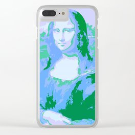 Monna Lisa in Blue/Green Clear iPhone Case