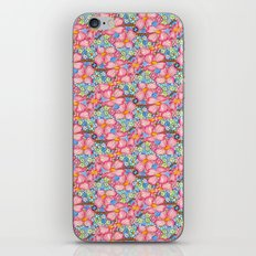 Tiled Pink Dogwood Flowers on Blue Background iPhone Skin