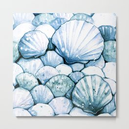 Sea Shells Teal Metal Print