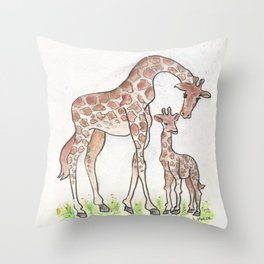 Giraffe and Her Calf Throw Pillow