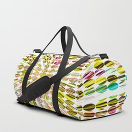 geometric circle abstract pattern in yellow pink blue Duffle Bag
