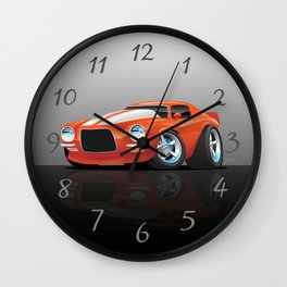 Classic Seventies Muscle Car Cartoon Wall Clock