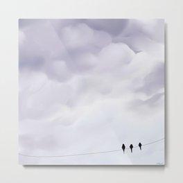 Bird cloudy sky sweet  illustration oiseau sur un fil ciel nuageux Metal Print