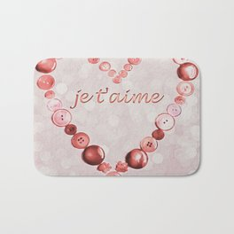 JE T'AIME - I LOVE YOU - VALENTINE - PINK AND PALE RED HEART Bath Mat