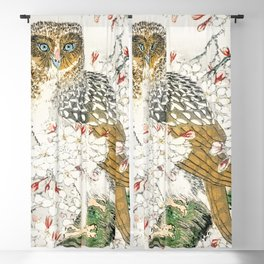Short-eared Owl and Cherry Flower  from Pictorial Monograph of Birds (1885) by Numata Kashu (1838-1901) Blackout Curtain