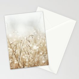 Dewdrop Nature Photography, Neutral Dew Drop, Gold White Brown Beige, Cream Water Drops Stationery Cards
