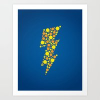 lightning Art Prints featuring Lightning by Danielle Podeszek