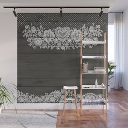 Rustic Wood & White Lace Wall Mural