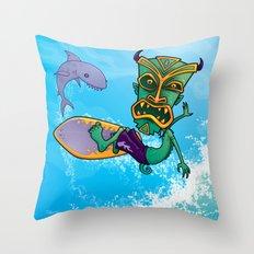 Tiki Surfer Throw Pillow