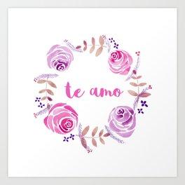 Te Amo - Pink Watercolor Floral Wreath 'I love you' in Spanish Art Print