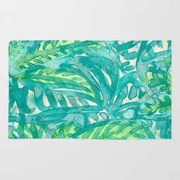 Turquoise & Lime Leaves Rug