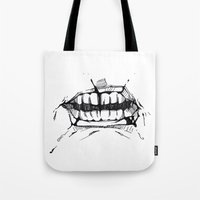 teeth Tote Bags featuring Teeth by Tanya_Vazh