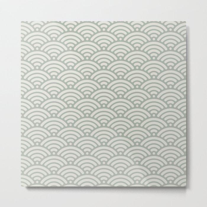 Gray Grey Mermaid Scales Metal Print